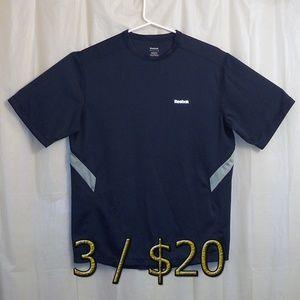 Reebok Polyester T-Shirt Men's Medium Blue Gray